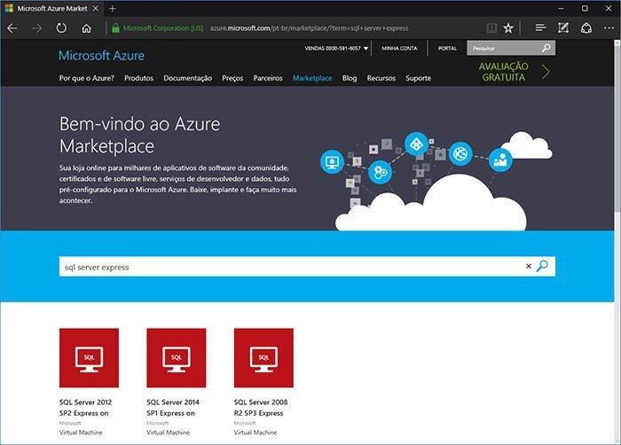Azure marketplace maquina virtual sql server