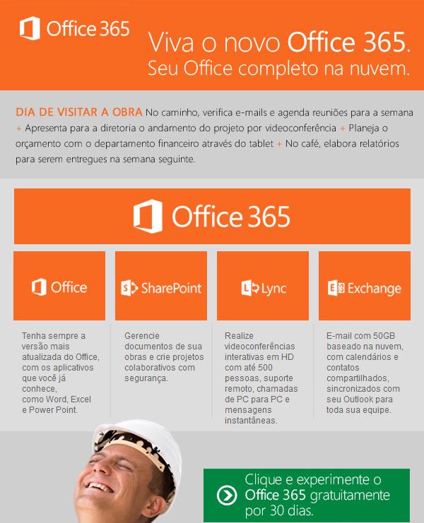 Office 365 ajudando seus projetos e obras a ficarem dentro do prazo