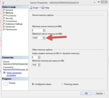 SQL Server cuidado com uso da memória máxima